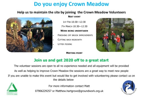 Crown Meadow volunteer poster